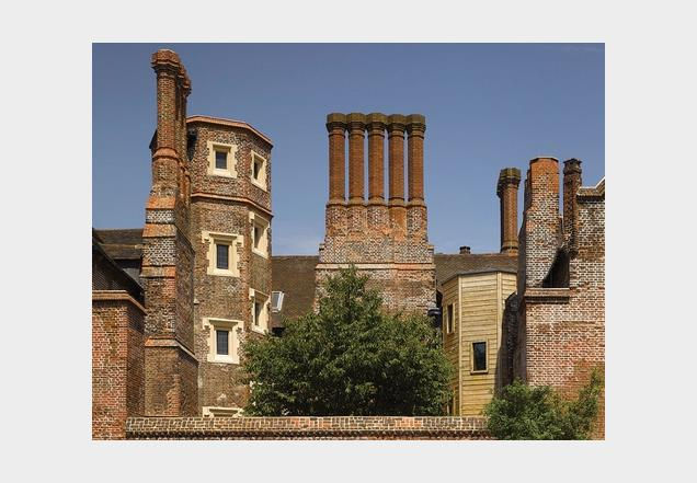 Eastbury Manor with its distinctive chimney stacks.
